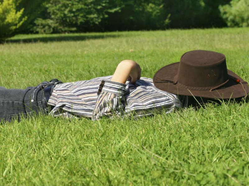 Schlafender Mann auf Wiese