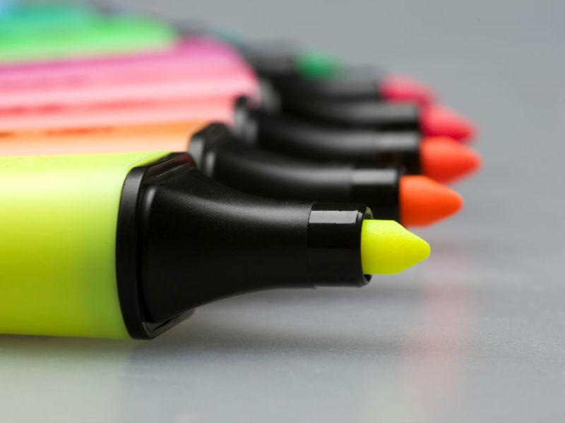 Auswahl Textmarker in verschiedenen Farben
